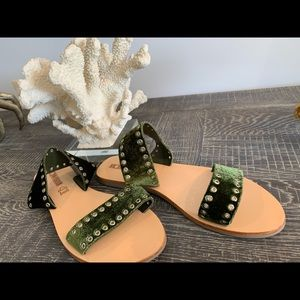 Sol Sana olive velvet silver studded sandals